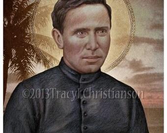 St. Damien of Molokai Art Print, Catholic Patron Saint #4071