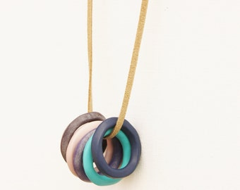Circle loop necklace, blue purple pendant, clay jewelry, everyday modern