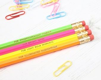 NEON BRIGHT IDEAS Pencil Set. Quirky Scientific Purposes Stationery Gift For Him Her Thank You Teacher Back School Teenager Stocking Filler