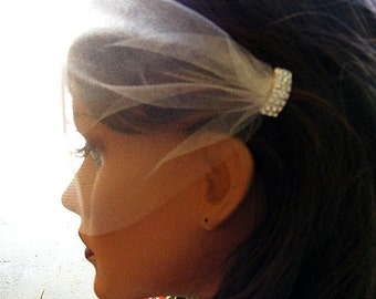 Rhinestone birdcage veil, Blusher Veil, Wedding Bandeau veil, Ivory veil, White veil, Bridal veil, Voilette avec strass