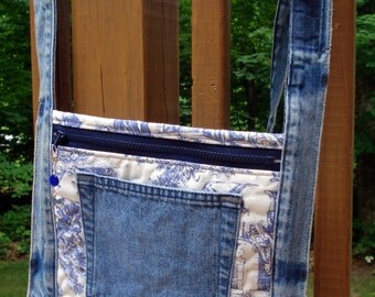 Hip Purse made with recycled denim and vintage toile fabric