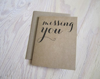 Missing You Rustic-Style Kraft Greeting Card for a Friend or Loved One You Miss!