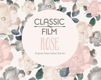 Vintage Style Photo Clip Art - Classic Film Rose