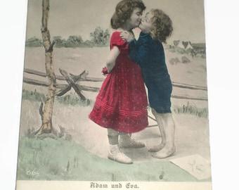 Vintage Postcard . Vintage German Postcard . Children's Postcard . Boy and Girl . Kiss .