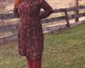 Vintage womens wine red trench coat, long womens double breasted coat, paisley pattern