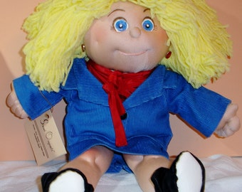 Katia is a 14 Inch Soft Sculpture Doll Lovely in a Blue Suit & Booties-Sarah Originals Dolls