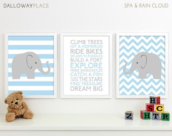 Baby Boy Nursery Art Chevron Elephant Nursery Prints, Kids Wall Art Baby Boys Room, Baby Nursery Decor Playroom Rules Quote Art Safari