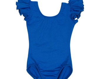 Royal Blue Leotard for Toddler & Girls with Flutter / Ruffle Short Sleeve READY TO SHIP