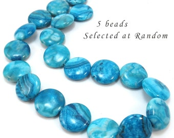 """Crazy Lace Agate Beads, Five (5) 20mm Flat Round Beads, Light to Dark Blue """"Crazy"""" Lace Agate Gemstones, Jewelry Supplies, Item 250gss"""