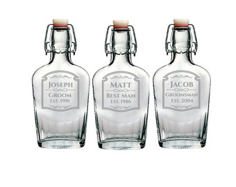 Groomsman Glass Flask- Personalized Engraving- 8.5 oz or 17 oz Customized Glass Flask- Groomsman Gifts