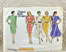 Dress, L XL, Vogue 2267 Pattern for Women, Loose, Blouson Bodice, Tapered or Flared Skirt, Back Button and Zipper, 1989 Uncut, Size 18 20 22