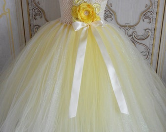 Daffodil Ivory and Yellow flower girl tutu dress