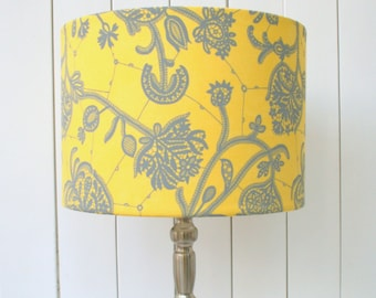 SALE! Yellow and grey fabric lampshade drum - table, floor or ceiling pendant lamp - made to order