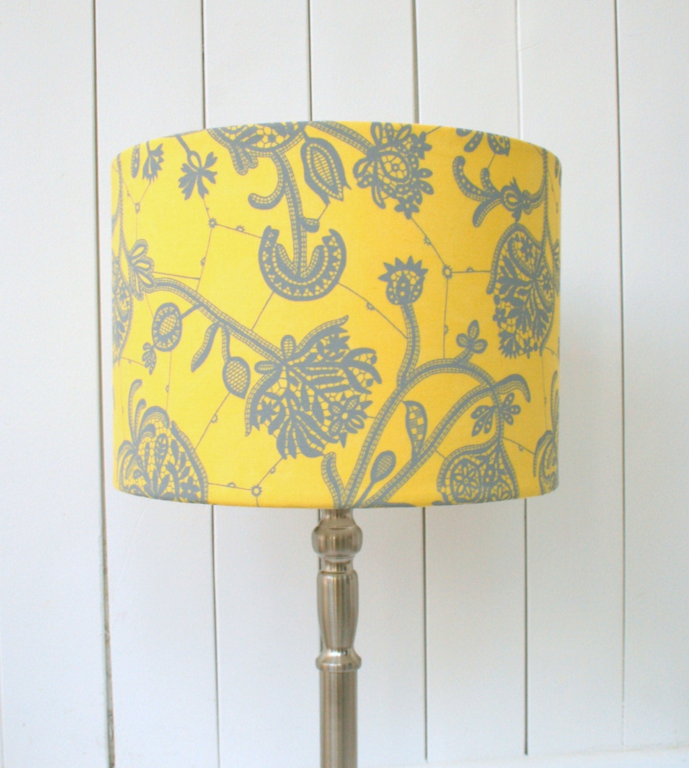 Sale Yellow And Grey Fabric Lampshade Drum Table Floor Or