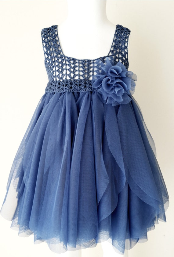 Ready to ship. Size 12-18 month. Indigo Blue Empire Waist Baby Tulle Dress with Stretch Crochet Top.