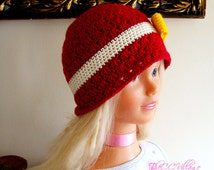 Red Crochet girl Hat with yellow bow, baby Cap, Infant Beanie