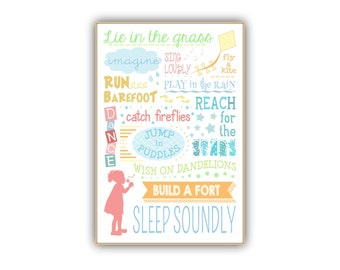 Girls Poster 24x36 Print for Nursery - make childhood memories children's art, 12x18, 16x24, 8x12 vertical print, little girls room decor