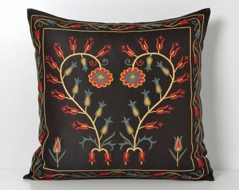 Suzani Pillow Cover - 20x20 Black Hand Embroidered Silk Vintage Organic Pillow - Decorative Pillows For Couch - Throw Pillow - Accent Pillow