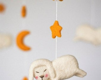 Baby Mobile, Sheep Mobile, Baby Girl Mobile, White Baby Mobile, Nursery Decor, Crib Mobile