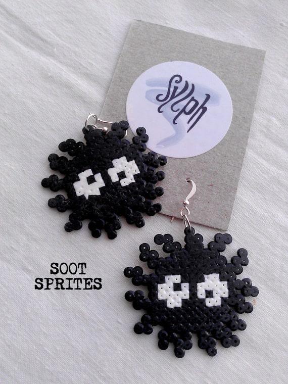 Japanese anime inspired pixelart earrings, Soot Sprites in 8bit retro style