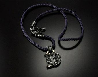 Silver Industrial Letter D Initial Pendant Steampunk | Custom Initial Necklace | Unique Letter Pendant