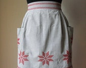 Vintage gingham half apron/ Red cross stitch womens apron/ retro kitchen decor/ vintage gift for her/ quirky wedding gift/ Christmas decor