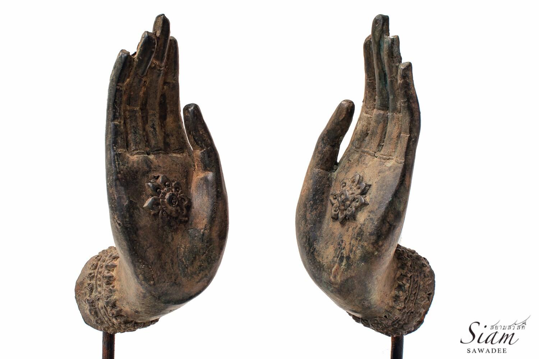 pair of bronze buddha mudra hand statues abhaya by. Black Bedroom Furniture Sets. Home Design Ideas