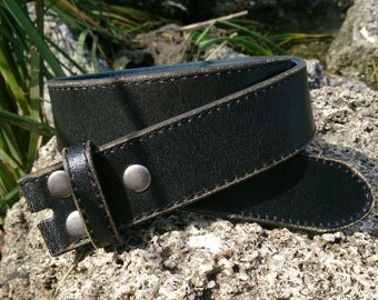 Distressed Black Leather Strap Belt Strap Snap On