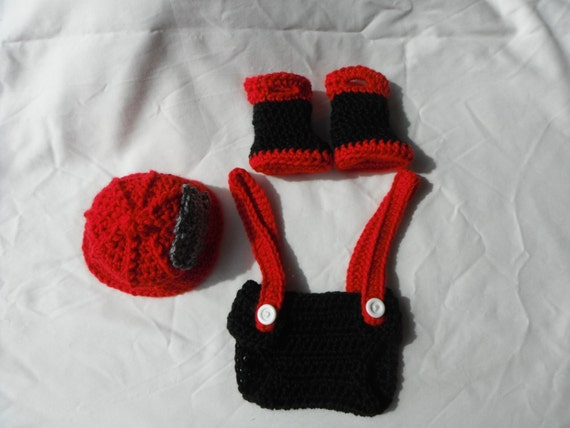 Crochet Patterns For Baby Frocks : Items similar to Crochet Baby Fireman Outfit on Etsy