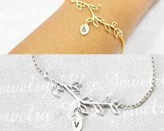 Olive Branch Bracelet, Olive Branch Jewelry, Gold Branch Bracelet,Silver Leaf Branch Bracelet,Wedding Bracelet. Bridel,Bridesmaid Jewelry