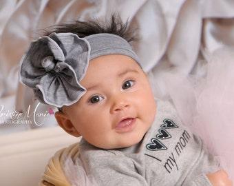 Baby headband, gray flower headband, baby girl headband, girl headband, flower headband, newborn girl headband, infant headband, grey flower