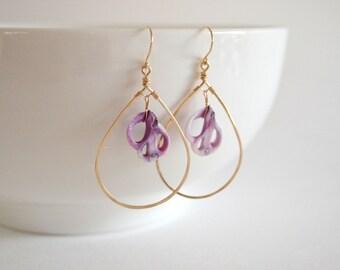 Lavender Cebu Shell Teardrop Earrings, Gold Filled