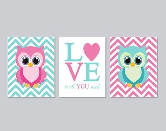 OWL Nursery Art Wall Art Girl Nursery Decor Girl Nursery Art Pink Aqua Love Is All You Need Set of 3 Prints Or Canvas Owl Baby Shower
