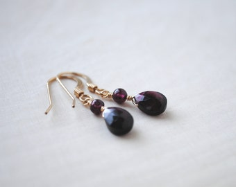 Garnet Earrings - Gold Garnet Earrings - Garnet Jewelry - January Birthstone Earrings