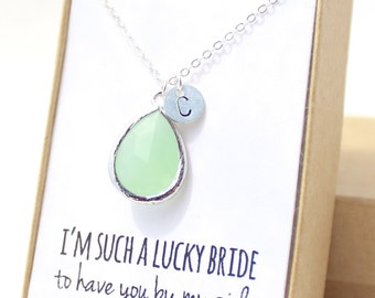 Light Mint / Silver Teardrop Necklace - Mint Bridesmaid Necklace - Bridesmaid Gift Jewelry - Mint and Silver Necklace - NB1