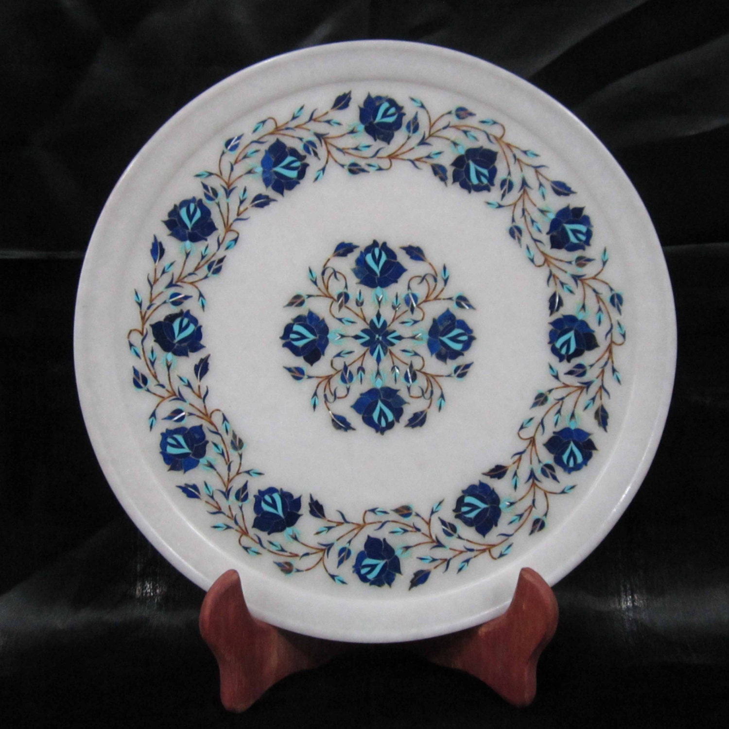 Decorative Wall Collectors Plate Handmade Marble Inlay Art