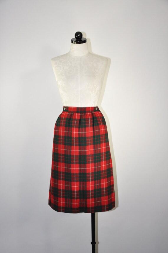 60s tartan wool pencil skirt 1960s green by quietunrest