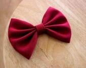 "4"" or 4.5"" dark red hair bow, maroon hair bow, crimson hair bow, classic hair bows for teens, solid color hair bow, fabric bow barrette"