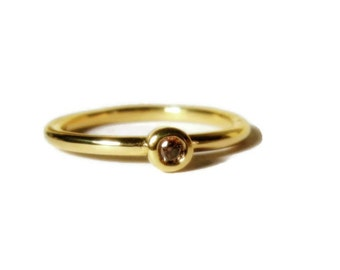 Mini Diamond Stacking Ring, 18K Yellow Gold, engagement, minimalist, Made to Order