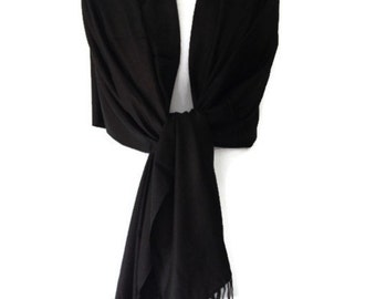 Black Pashmina , Scarf Wrap Shawl , Large Scarf , Fair Trade Handwoven, Bridesmaids Wrap, Prom Shawl Pashmina