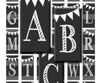 Chalk Alphabet Letters Initials Monogram Chalkboard Digital Images Collage Sheet 1x2 inch Rectangles Domino Commercial INSTANT Download RD12