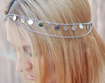 THE AURORA sale! Silver Coin Crown Gypsy Hair Chain Jewelry Boho Spring Princess Egyptian Cleopatra Belly Dancer Festival  Spring Christmas