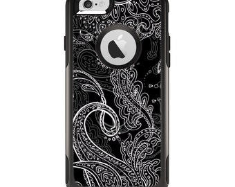 The Black with Thin White Paisley Pattern Apple iPhone 6 Otterbox Commuter Case Skin Set