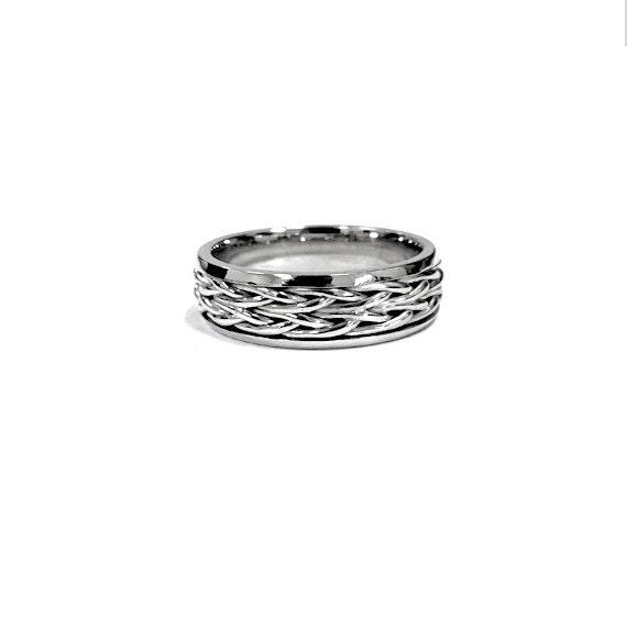 Men Wedding Ring Platinum Hand Woven Band Minimalist By Nautigold