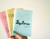 """Blue Notebook A6 with Typography cover """"The Universe is Made of Tiny Stories and Big Dreams"""" - Small Journal with Quote - Handmade Jotter"""