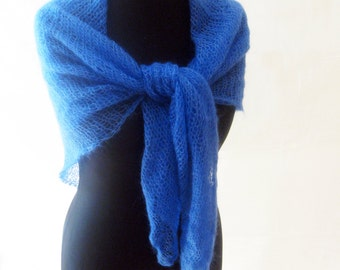 Blue mohair shawl, silk scarf, bridesmaid shawl, hand knitted autumn accessory, minimalist scarf, loose knit shoulder wrap, soft scarf, knit