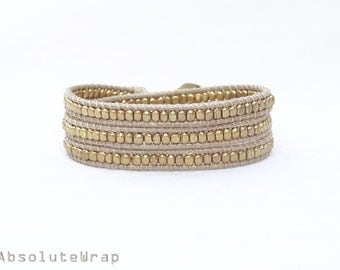 Brass beads wrap bracelet on soft beige polyester cord, triple wrap bracelet, golden, gold