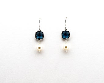 Montana Blue Sapphire with Pearl Drop Earrings, Dangle Earrings, Wedding Jewelry, Bridesmaid Jewelry, Mother's Day