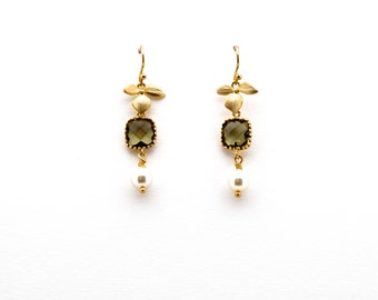 Orchid Earrings with Olive Green Crystal and Pearl, Green Earrings, Dangle Earrings, Wedding Jewelry, Bridesmaid Jewelry