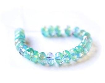 LAGOON Facated Czech Glass Beads 4x7mm